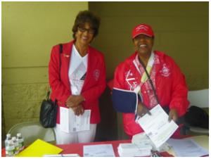 Sorors at voter registration desk