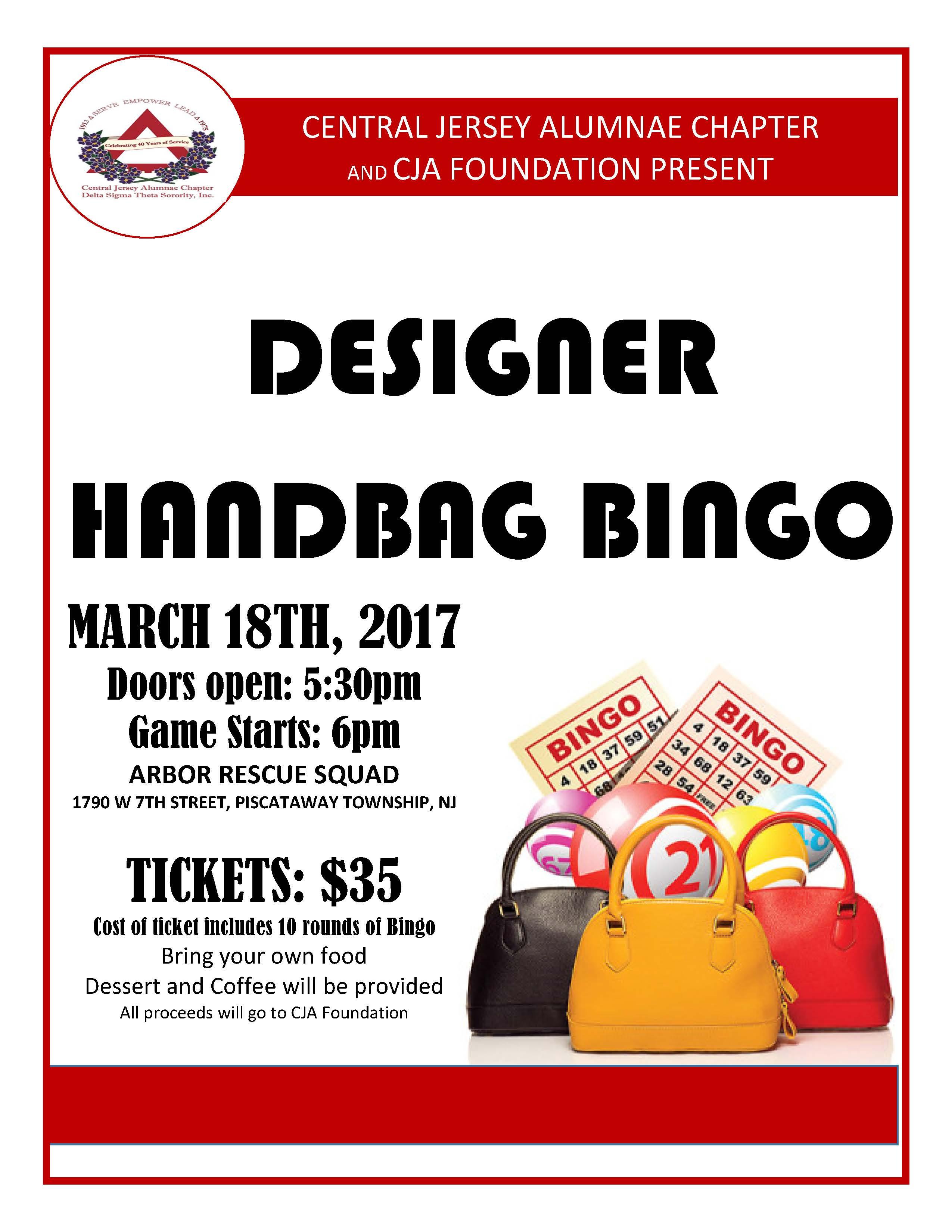 Handbag Bingo Central Jersey Alumnae Chapter Of Delta