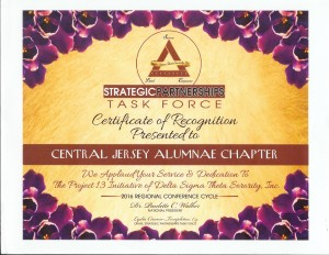 2016 Eastern Region - Certificate of Recognition for Central Jersey Alumnae Chapter P13 Program