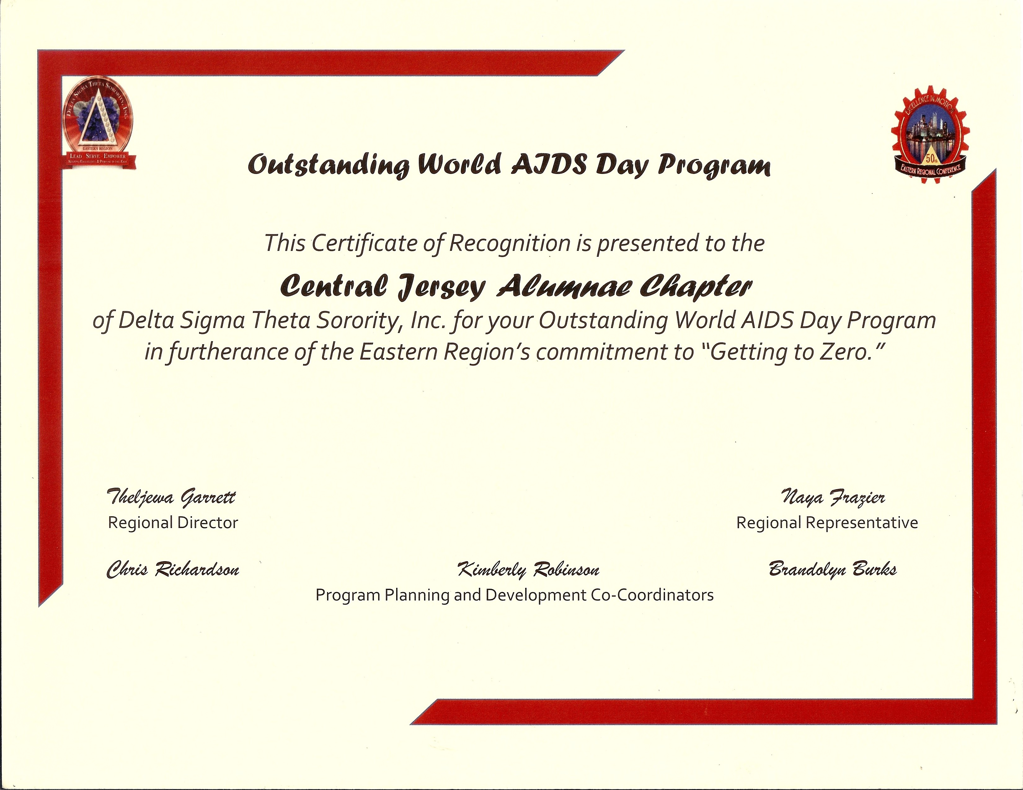 World Aids Day Certificate Central Jersey Alumnae Chapter Of Delta