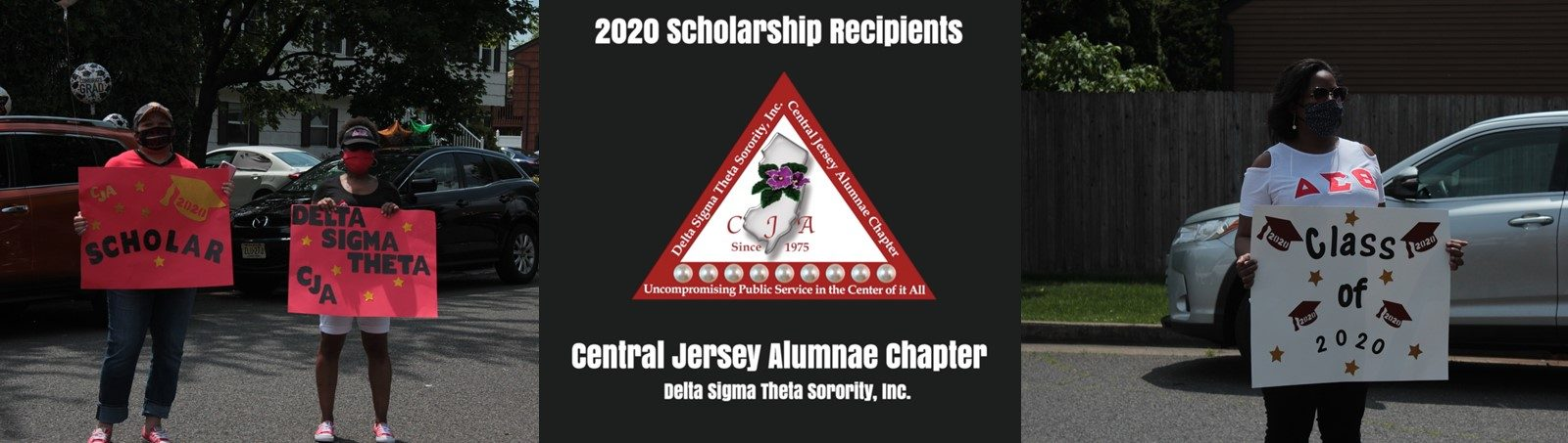 CJA members holding signs congratulating the 2020 scholarship recipients. Click to view video.